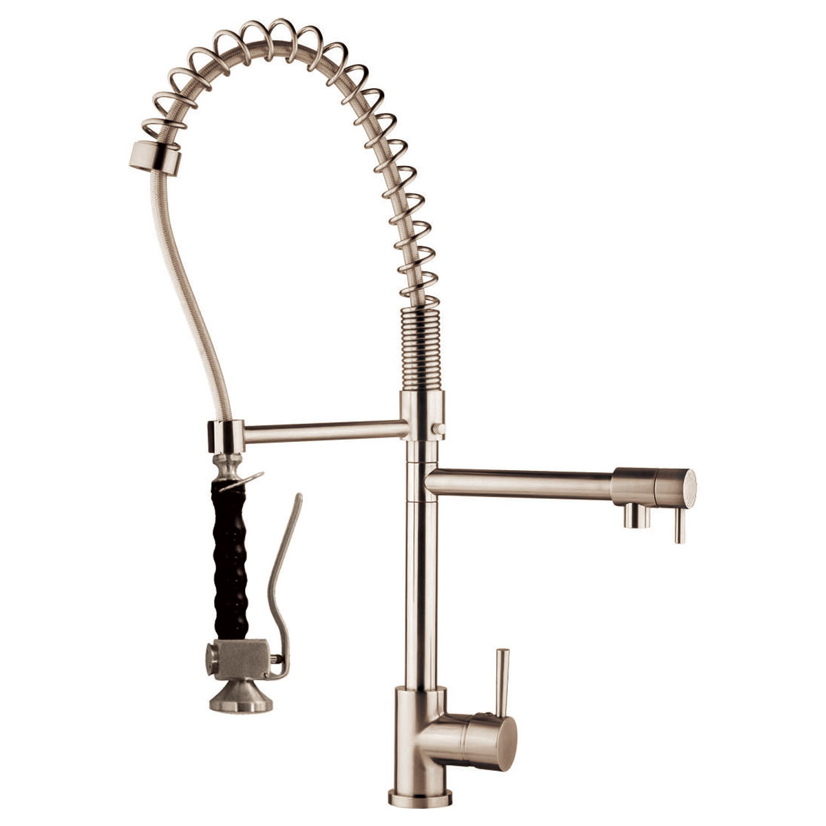 LessCare LK15B Spring-Type Pull-Out Kitchen Faucet in Brushed Nickel ...