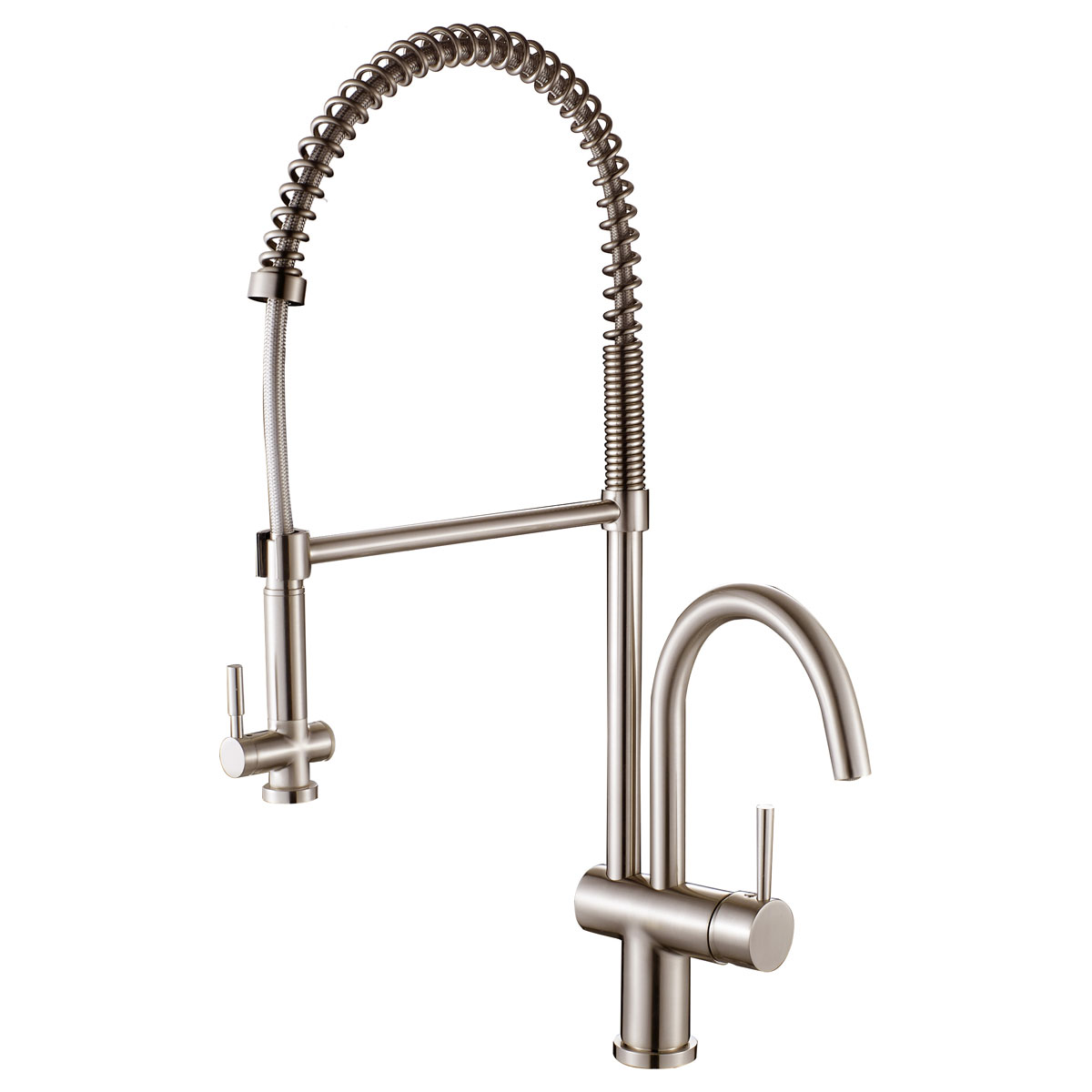 LessCare LK16B Spring-Type Pull-Out Kitchen Faucet in Brushed Nickel ...